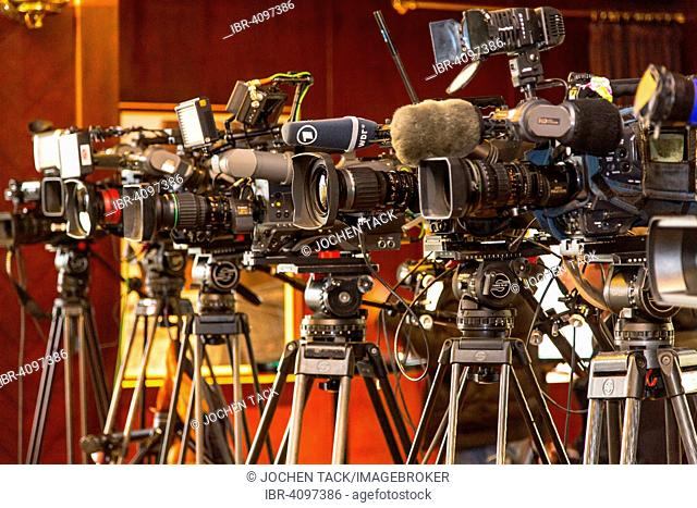 Television cameras on tripods, press conference, Cologne, North Rhine-Westphalia, Germany
