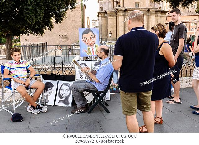 Street painter working on a caricature of a boy in front of the Roman Forum, Rome, Lazio region, Italy