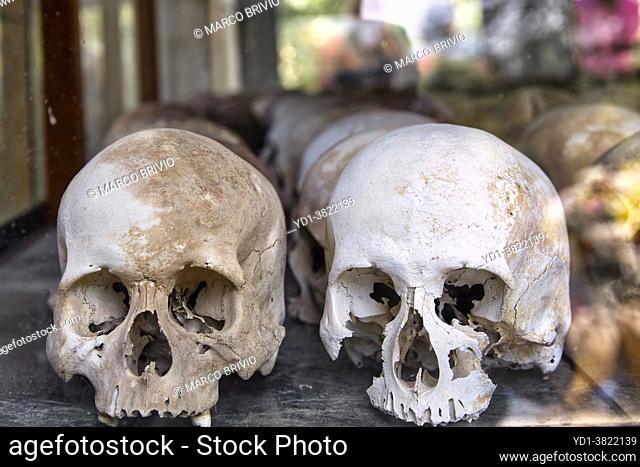 Prisoner Skulls in Choeung Ek War Crimes Genocide Musuem, used by Khmer Rouge Regime as Security Prison. Phnom Penh, Cambodia