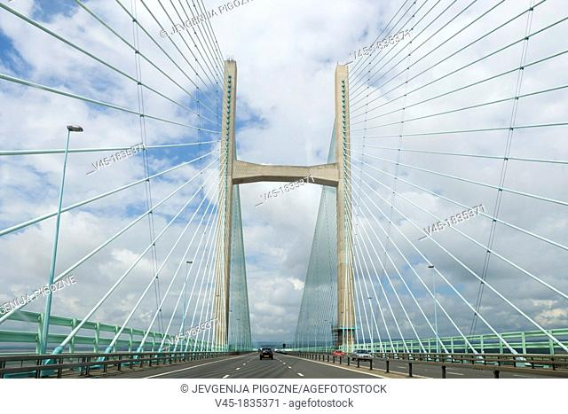Second Severn crossing, Ail Groesfan Hafren, looking West from England towards Wales, UK