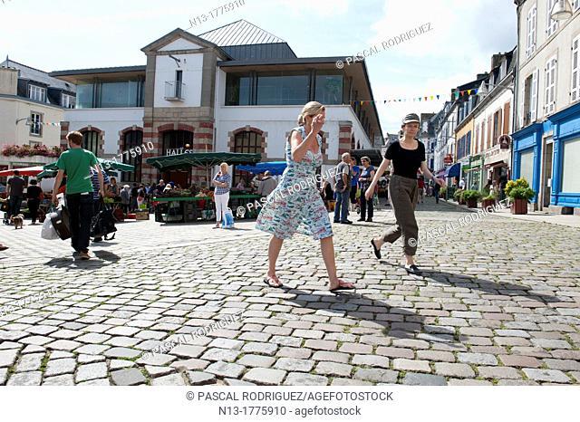 Women walking at the market, douarnenez france