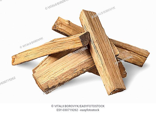 Pile of firewood isolated on white background