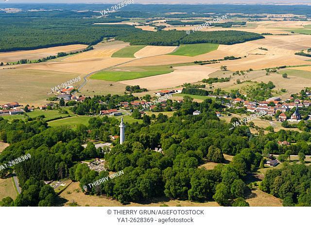 France, Meuse (55), Montfaucon d'Argonne village and Butte de Montfaucon (aerial view)