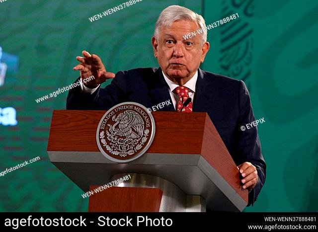 MEXICO CITY, MEXICO - MAY 14: Mexico's President Andres Manuel Lopez Obrador, gesticulates while speaks responding media questions during a briefing conference...