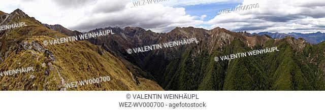 New Zealand, South Island, Queenstown-Lakes-Distrikt, MakaroraWanaka, Sawyer Burn Track, Panorama