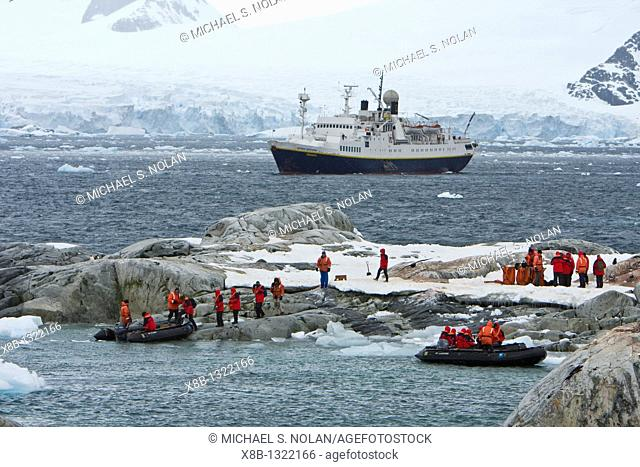The Lindblad expedition ship National Geographic Endeavour operating with it's fleet of Zodiacs in and around the Antarctic peninsula