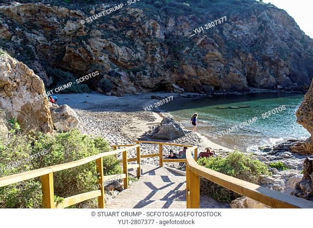 Walkway down to Cala Cortina beach at Cartagena in Murcia Spain