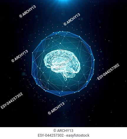 Machine learning , artificial intelligence , ai , deep learning blockchain neural network concept. Brain made with shining wireframe net graphic abstract...