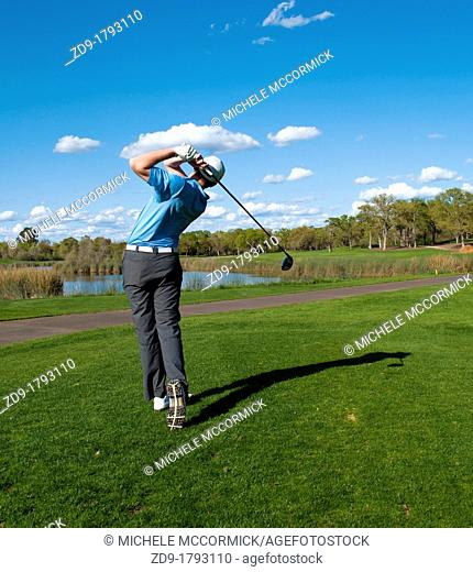 A golfer hits his drive off the first tee at Granite Bay Golf Club