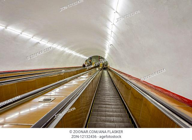 Long escalators leading to a metro in Yerevan, Armenia