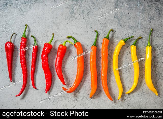 Colorful vibrant peppers, hot scale