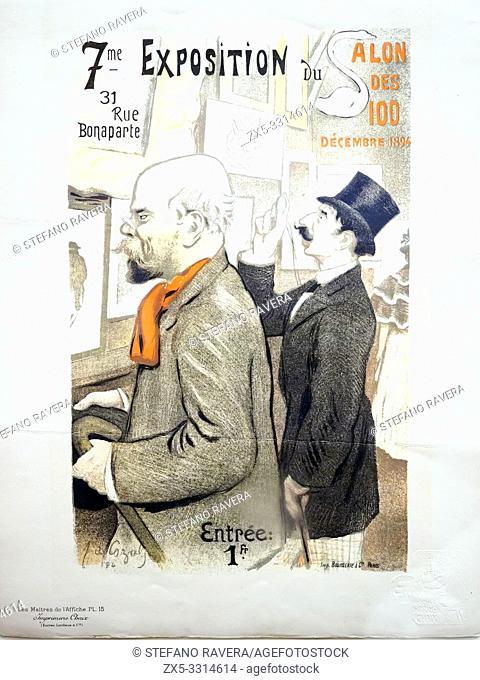 Frederic Auguste Cazals (1865-1941). Septieme Exposition du Salon de 100, 1894. Lithograph. . This print shows Paul Verlaine and Jean Moreas viewing works at...