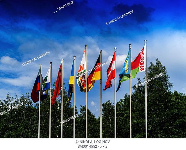 Horizontal vivid European flags composition background backdrop