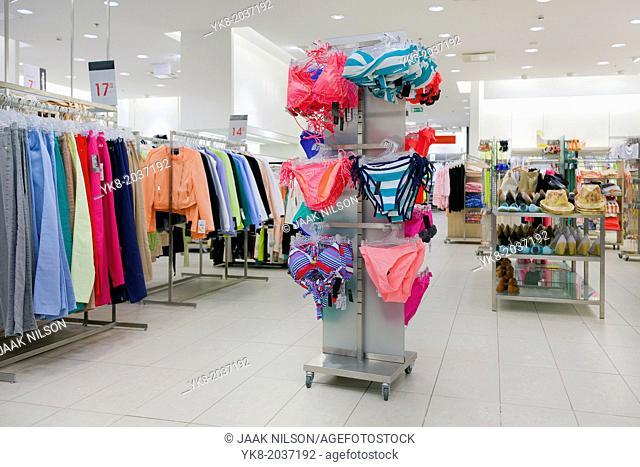 Woman`s underwear. Lingerie on rack. Retail shop, store