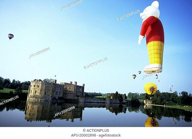 Rupert the Bear hot air balloon over Leeds Castle