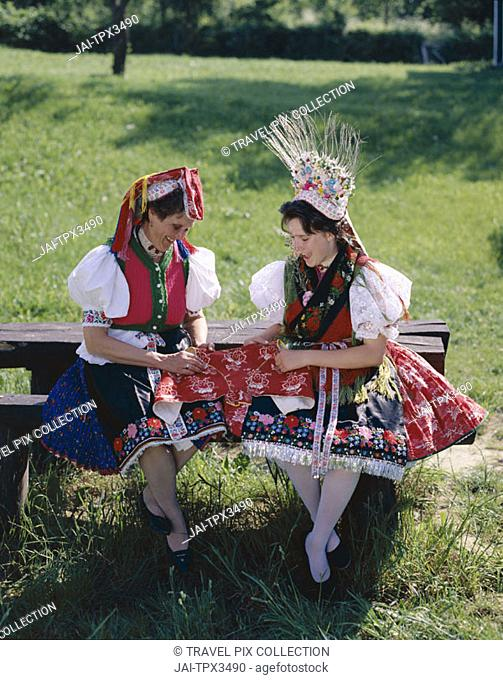 Women Dressed in Traditional Folklore Costume, Holloko, Hungary