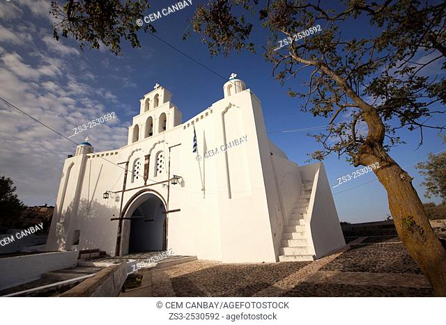 St. Mary's Church with a two-storey bell tower from 1660, Pyrgos, Santorini, Cyclades Islands, Greek Islands, Greece, Europe