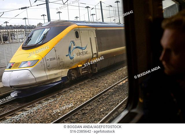 Paris, France - Eurostar train waiting to leave Gare du Nord, seen from inside another such train coming from London, UK