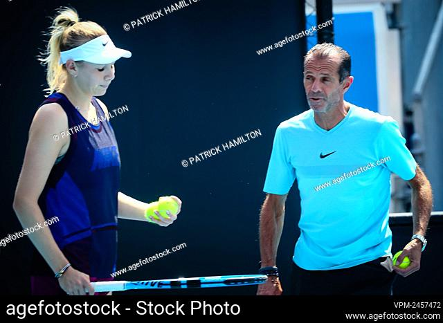 Carlos Rodriguez, coach of Amanda Anisimova pictured during a training practise at the 'Australian Open' tennis Grand Slam