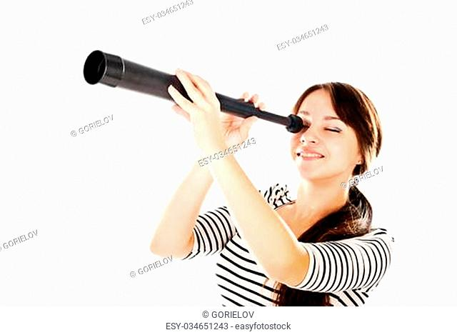 young woman with telescope isolated on a white background