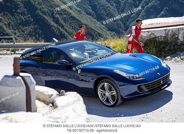 Presentation and test drive of car Ferrari GTC4Lusso ,Pietrasanta, ITALY-18-07-2016