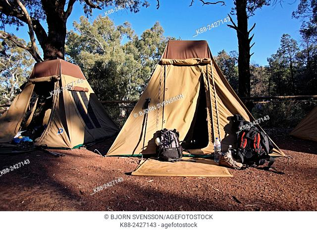 Wilpena Pound Campsite, popular with bushwalkers. Flinders Ranges, South Australia