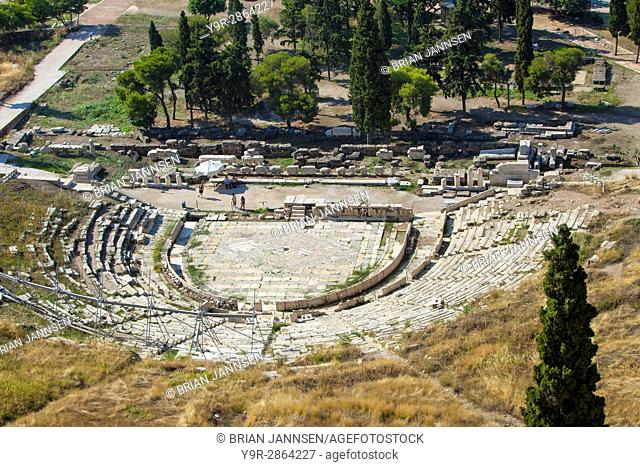 Theatre of Dionysus Eleuthereus, a major open-air theatre from the 8th or 9th C. BC, on the south slope of the Athenian Acropolis, Greece