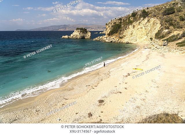 Strand Pasqyra Beach zwischen Saranda und Ksamil, Albanien, Europa   Mirror or Pasqyra Beach between Sarande and Ksamil, Albania, Europe
