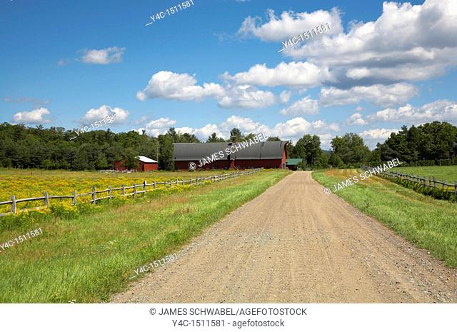 Dirt roaf and farm buildings in the Adirondack Mountains of New York State