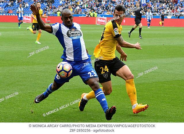 Kakuta stealing the ball from Luis Hernandez. La Liga Santander match day 32 game between RC Deportivo and Malaga CF. Deportivo defeated Malaga 2-0 with goal...