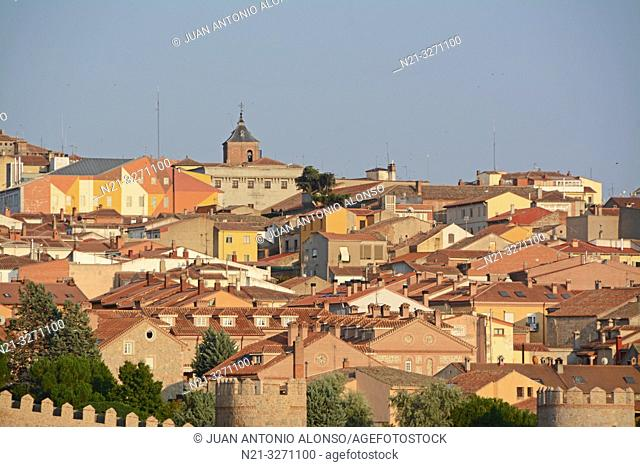 Partial view of the fortified city of Avila, Castilla-Leon, Spain, Europe