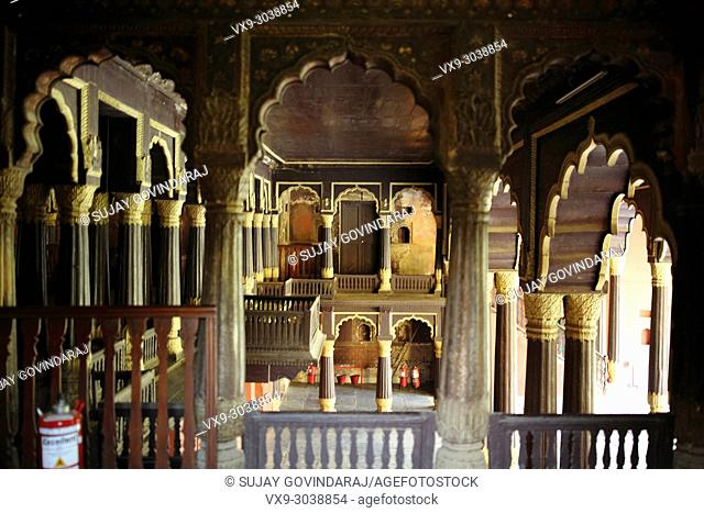 Bangalore, India - October 23, 2016: An interior view of Tippu Sultan's Summer Palace in Bangalore (front view), a beautiful landmark in Indo-Islamic...