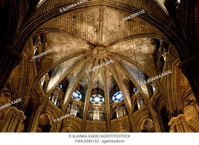 Cathedral interior, ribbed vault, Barcelona, Spain