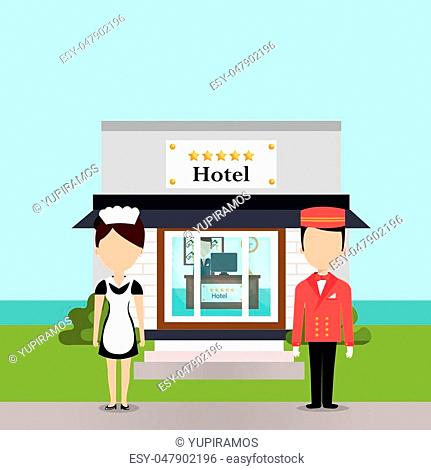 hotel workers avatars characters vector illustration design