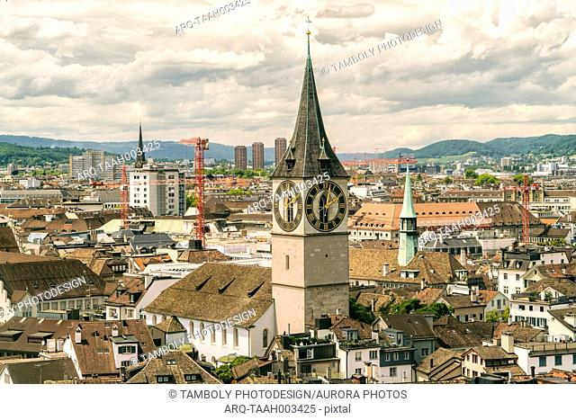 Picturesque cityscape with church clocktower, Zurich, Switzerland