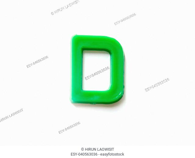 Plastic letters D isolated white background