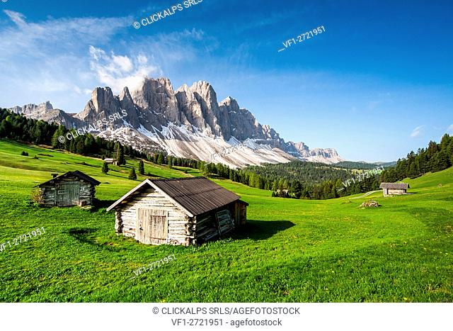 View of the Odle from Malga Caseril. Puez Natural Park. Funes Valley Dolomites. Trentino Alto Adige. Italy Europe