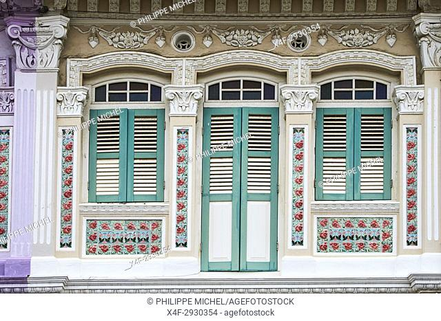 Singapore, Peranakan houses in Euros District at the east of the city