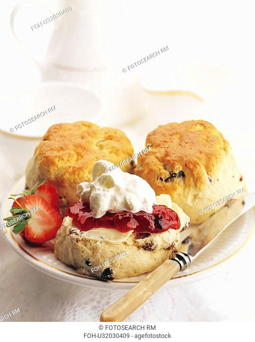 Scone With Cream And Strawberry Jam