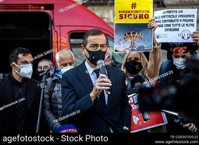Mayor of Milan Giuseppe Sala attends at the protest of musicians, dancers and theater workers against the government restriction measures of closing gyms