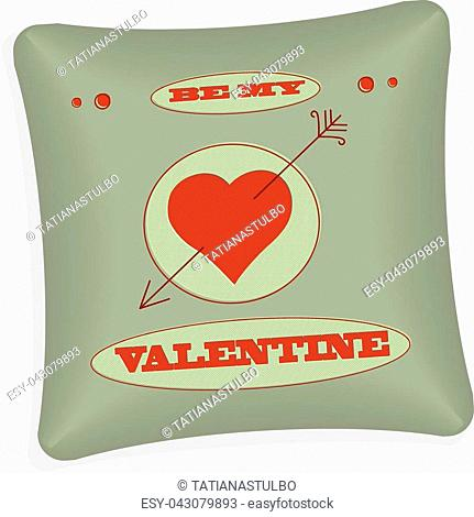 Pillow with heart. Gift for Valentine's Day. Home decor in vector style design