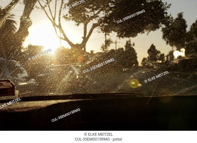 Dirt marks on car window