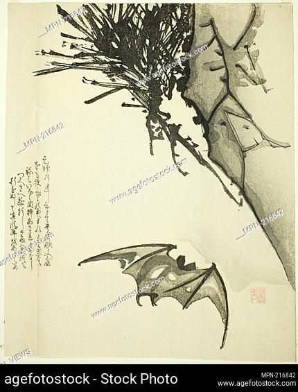 A Bat Flying near a Pine Tree - Issho Japanese, active 19th century - Artist: Issho, Origin: Japan, Date: 1801-1900, Medium: Woodblock print; surimono