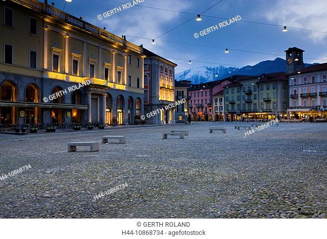 10868734, Locarno, Switzerland, canton, Ticino, town, city, houses, homes, lighting, illumination, dusk, twilight, place, space, Piazza Grande