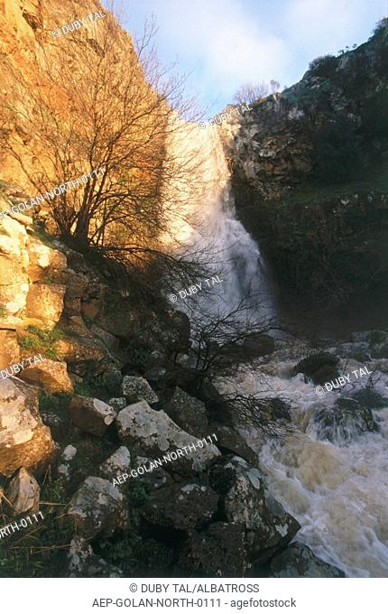 Photograph of the Orvim waterfall in the northern Golan Heights
