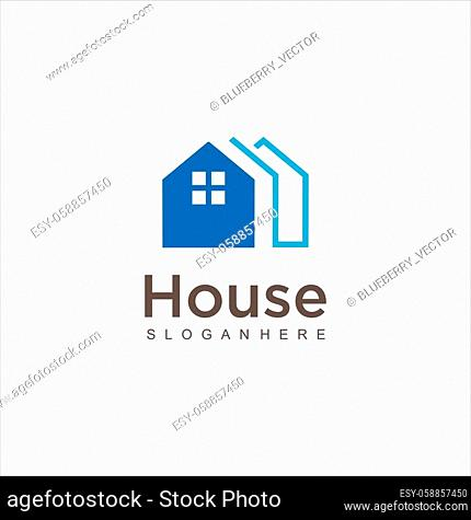 Real Estate Logo design vector template Linear style. SImple House logo. Modern Home Logo Design Illustration