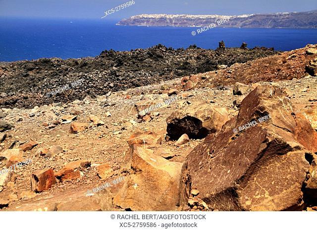 Nea Kameni volcanic Island, Santorini/Thera, Greece