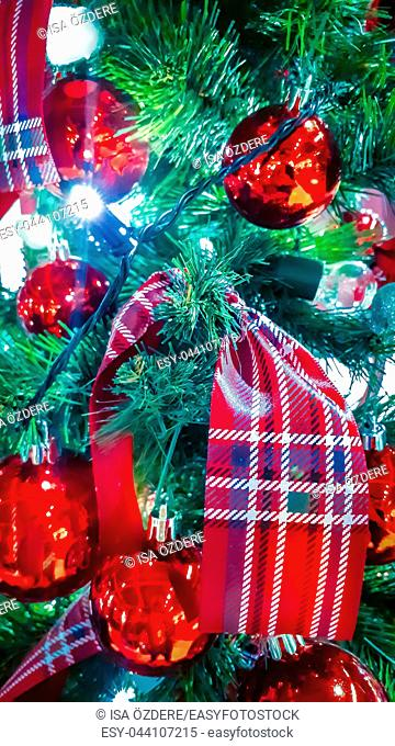 Soft close up view of Christmas with tree decorations