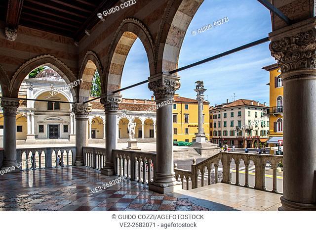 View of Piazza della Libertà from San Giovanni Arcades, Udine, Friuli-Venezia Giulia, Italy