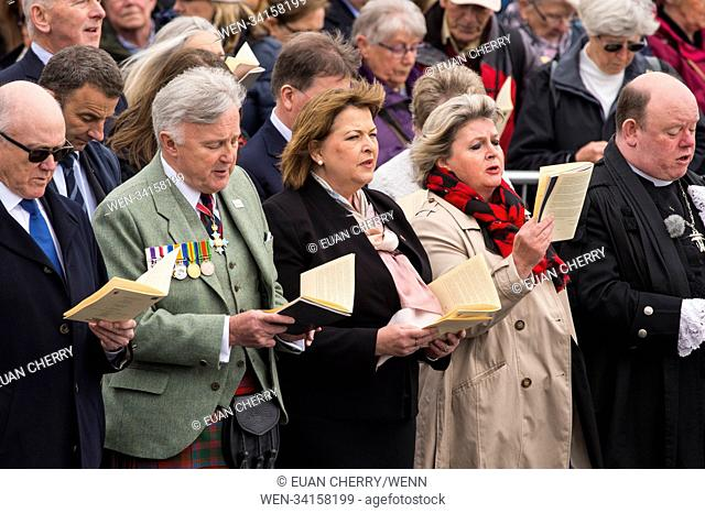 Royal family, politicians and decendants attend a service to recognise the 100-year commemoration of WW1 US ships sinking at Islay, at the Port Ellen Memorial